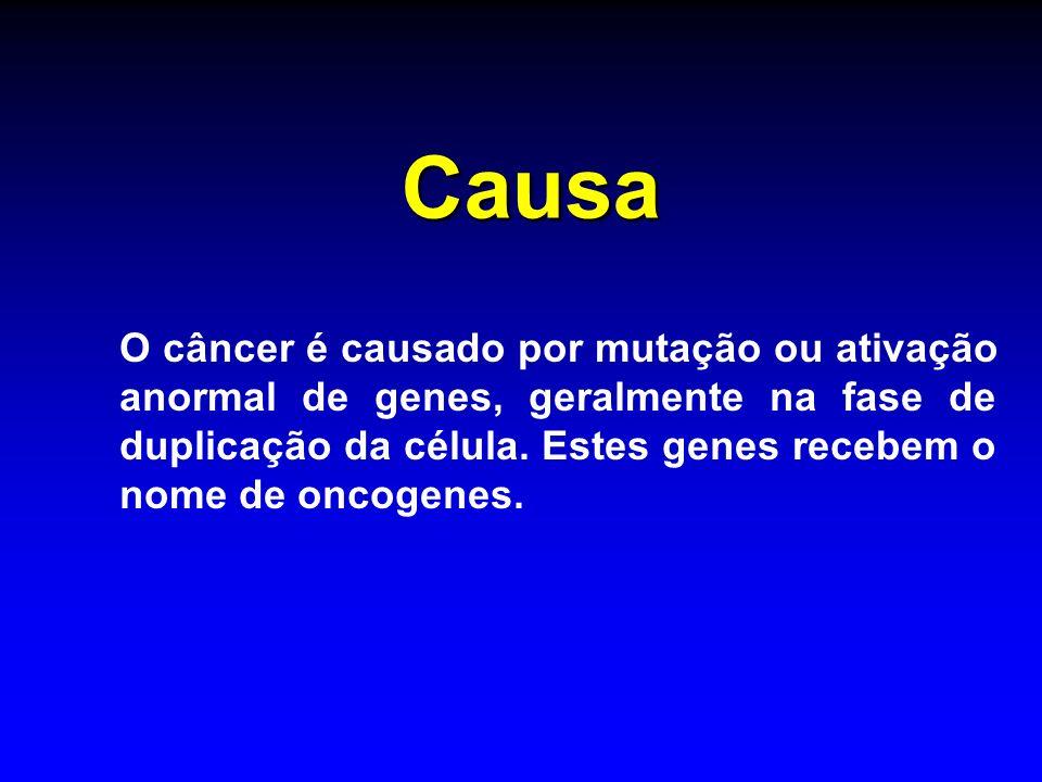 Causa O câncer é causado por mutação ou ativação anormal de genes, geralmente na fase de duplicação da célula. Estes genes recebem o nome de oncogenes