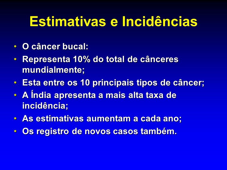 Estimativas e Incidências O câncer bucal:O câncer bucal: Representa 10% do total de cânceres mundialmente;Representa 10% do total de cânceres mundialm