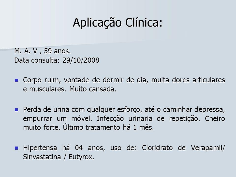 Aplicação Clínica: M. A. V, 59 anos. Data consulta: 29/10/2008 Corpo ruim, vontade de dormir de dia, muita dores articulares e musculares. Muito cansa