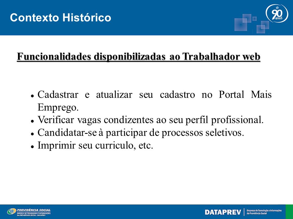 Contexto Histórico Funcionalidades disponibilizadas ao Trabalhador web Cadastrar e atualizar seu cadastro no Portal Mais Emprego.