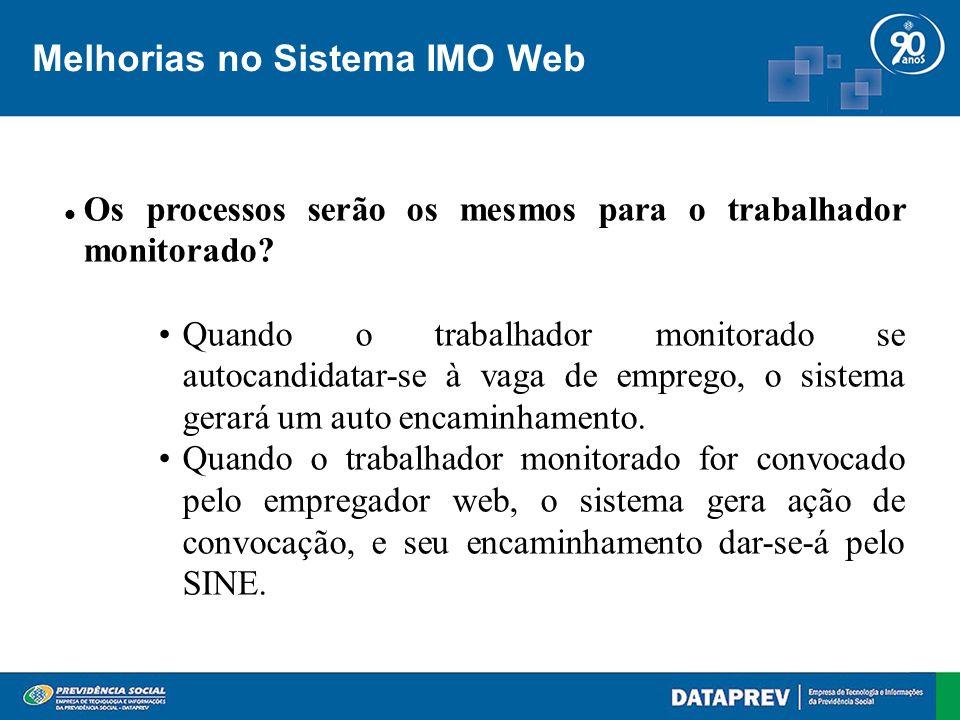 Melhorias no Sistema IMO Web Os processos serão os mesmos para o trabalhador monitorado.