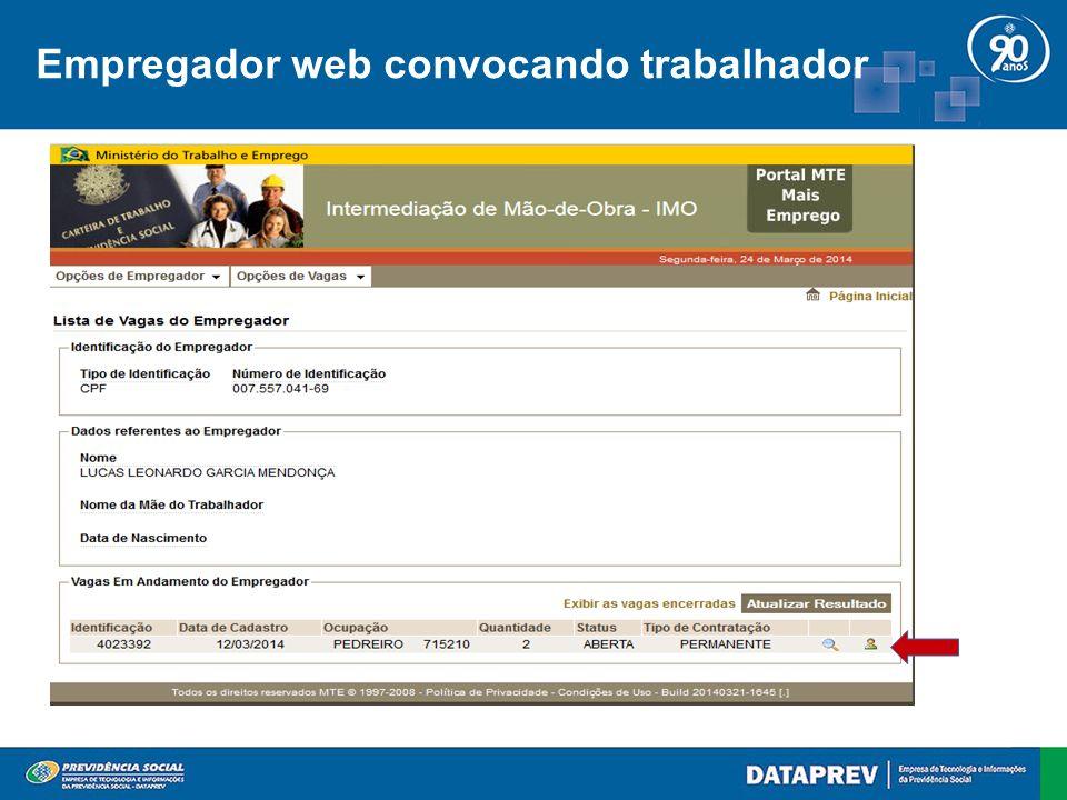 Empregador web convocando trabalhador