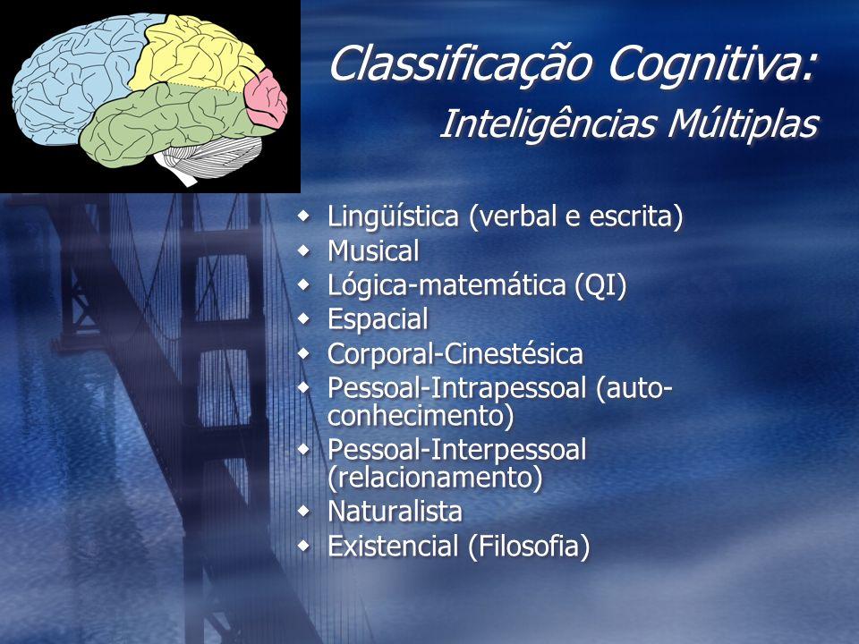 Classificação Cognitiva: Inteligências Múltiplas Lingüística (verbal e escrita) Musical Lógica-matemática (QI) Espacial Corporal-Cinestésica Pessoal-I