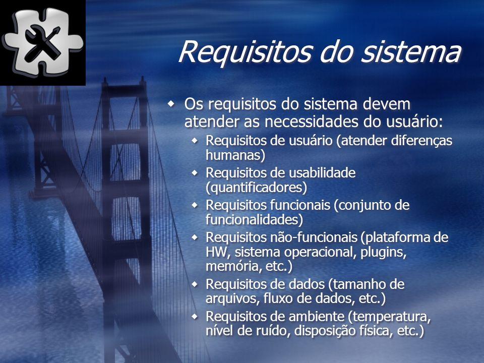 Requisitos do sistema Os requisitos do sistema devem atender as necessidades do usuário: Requisitos de usuário (atender diferenças humanas) Requisitos