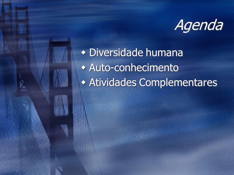 Agenda Diversidade humana Auto-conhecimento Atividades Complementares Diversidade humana Auto-conhecimento Atividades Complementares