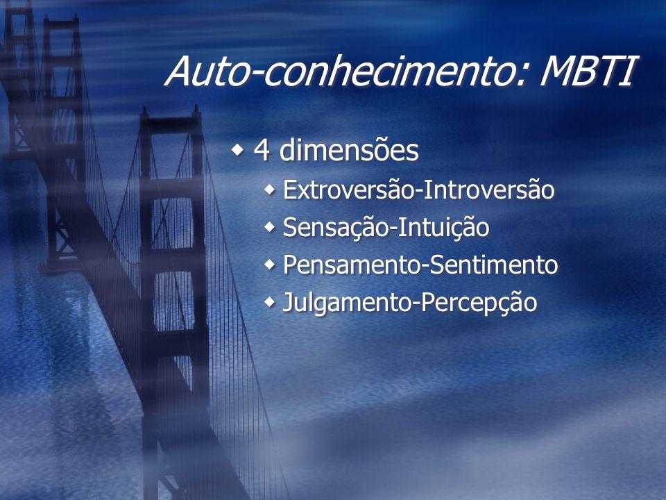 Auto-conhecimento: MBTI 4 dimensões Extroversão-Introversão Sensação-Intuição Pensamento-Sentimento Julgamento-Percepção 4 dimensões Extroversão-Intro