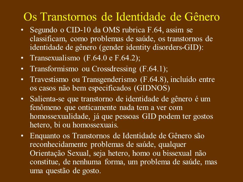 O que é a terapia de gênero Inclui o diagnóstico de Transtornos de Identidade de Gênero (GID e GIDNOS), F.64 do CID-10 da OMS; Inclui o tratamento desses casos após diagnóstico, incluindo transição e hormonioterapia (HRT); Inclui o acompanhamento terapêutico desses casos, durante o período de diagnóstico e transição; A transição inclui cirurgias corretivas de caracteres secundários e inclusive cirurgias de transgenitalização (SRS), sempre que necessárias; Inclui o acompanhamento sexológico e psicoterapêutico após cirurgia de transgenitalização (SRS).
