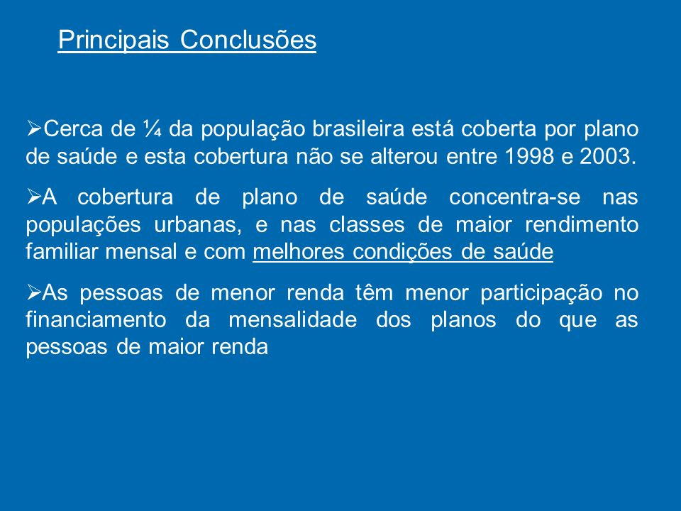 Principais Conclusões Cerca de ¼ da população brasileira está coberta por plano de saúde e esta cobertura não se alterou entre 1998 e 2003.