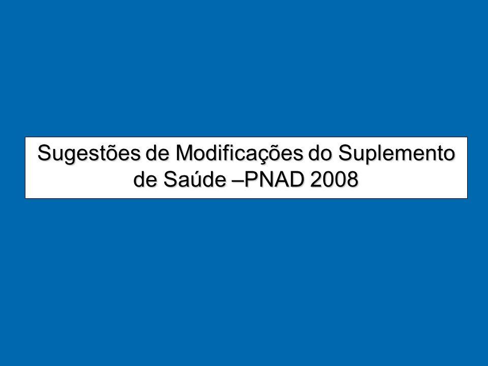 Sugestões de Modificações do Suplemento de Saúde –PNAD 2008