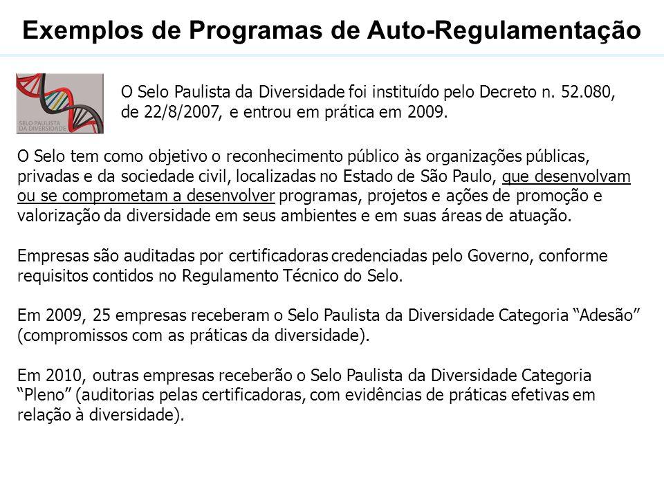 Exemplos de Programas de Auto-Regulamentação O Selo Paulista da Diversidade foi instituído pelo Decreto n. 52.080, de 22/8/2007, e entrou em prática e