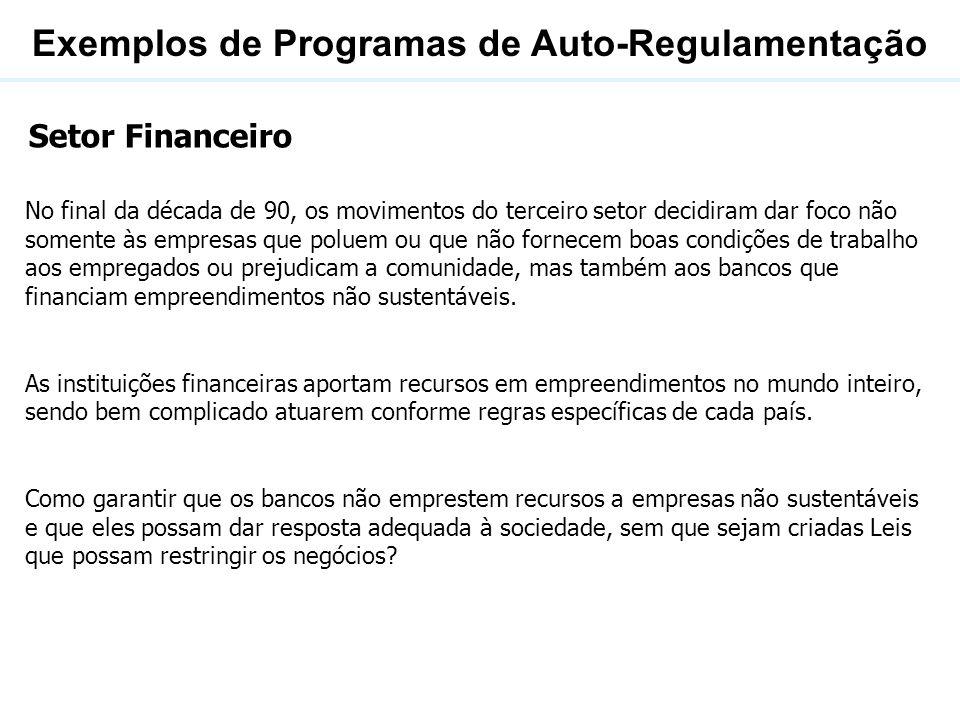 Exemplos de Programas de Auto-Regulamentação Em junho de 2003 o International Finance Corporation (IFC), instituição vinculada ao Banco Mundial que fornece financiamentos a projetos da iniciativa privada, criou uma série de exigências, conhecida como Princípios do Equador .