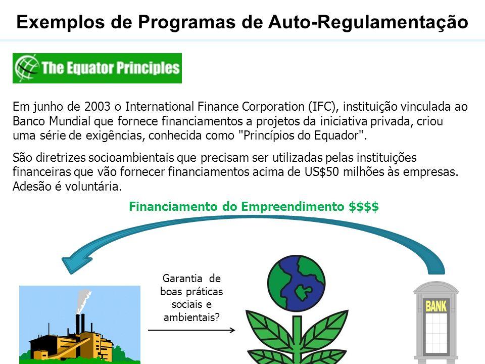 Exemplos de Programas de Auto-Regulamentação Em junho de 2003 o International Finance Corporation (IFC), instituição vinculada ao Banco Mundial que fo