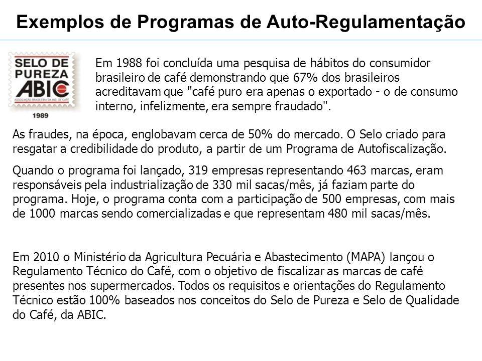 Exemplos de Programas de Auto-Regulamentação Em 1988 foi concluída uma pesquisa de hábitos do consumidor brasileiro de café demonstrando que 67% dos b