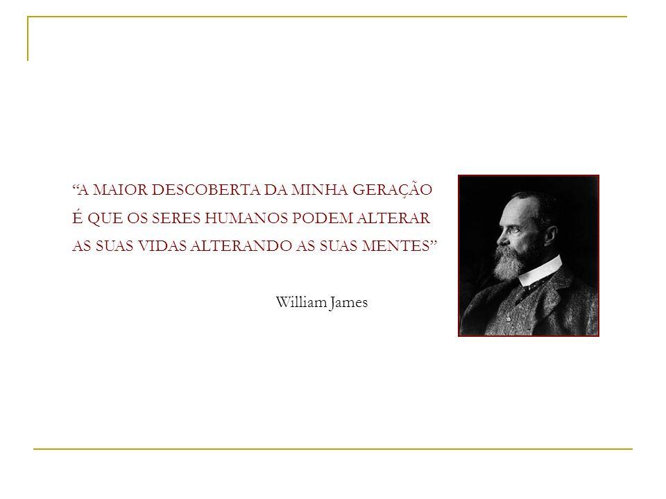 A MAIOR DESCOBERTA DA MINHA GERAÇÃO É QUE OS SERES HUMANOS PODEM ALTERAR AS SUAS VIDAS ALTERANDO AS SUAS MENTES William James