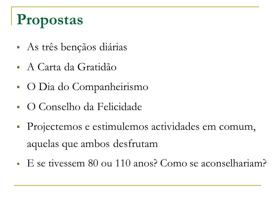 Propostas As três bençãos diárias A Carta da Gratidão O Dia do Companheirismo O Conselho da Felicidade Projectemos e estimulemos actividades em comum, aquelas que ambos desfrutam E se tivessem 80 ou 110 anos.
