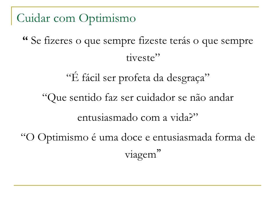 Cuidar com Optimismo Se fizeres o que sempre fizeste terás o que sempre tiveste É fácil ser profeta da desgraça Que sentido faz ser cuidador se não andar entusiasmado com a vida.