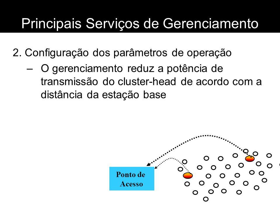 Principais Serviços de Gerenciamento 2. Configuração dos parâmetros de operação –O gerenciamento reduz a potência de transmissão do cluster-head de ac