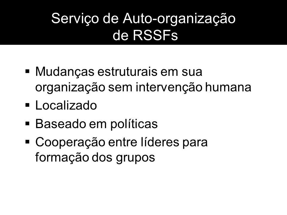 Serviço de Auto-organização de RSSFs Mudanças estruturais em sua organização sem intervenção humana Localizado Baseado em políticas Cooperação entre l