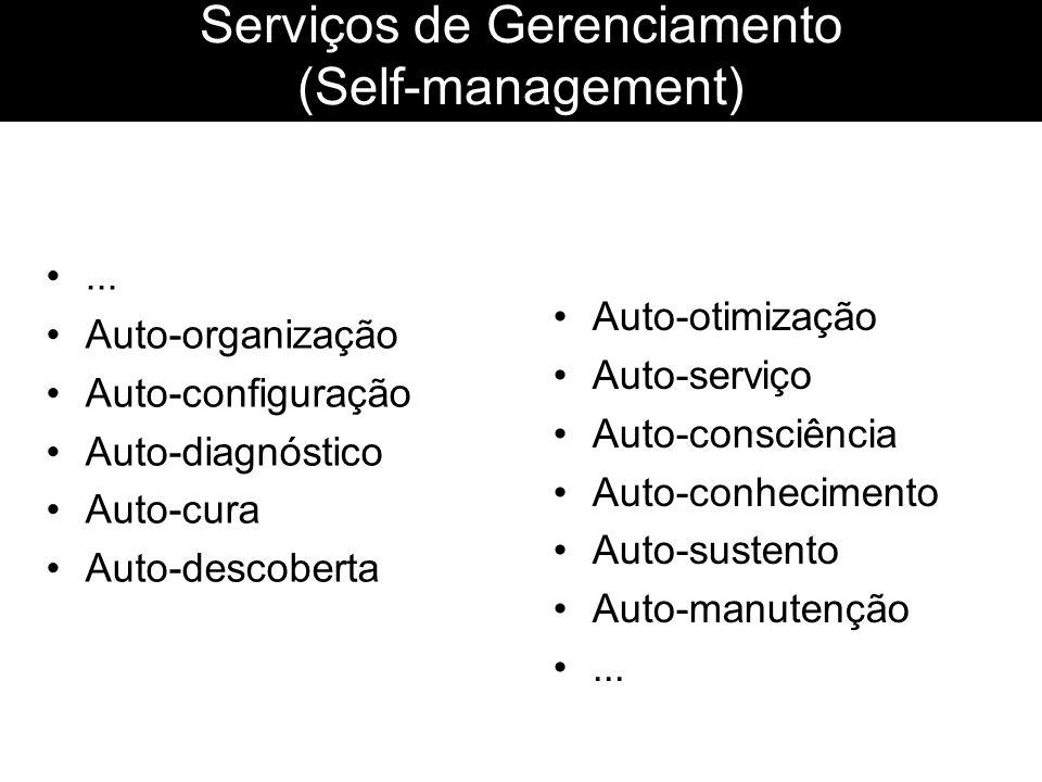 Serviços de Gerenciamento (Self-management)... Auto-organização Auto-configuração Auto-diagnóstico Auto-cura Auto-descoberta Auto-otimização Auto-serv