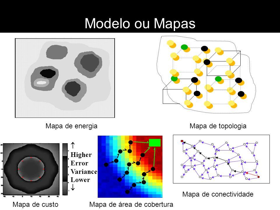 Modelo ou Mapas Mapa de energia Mapa de topologia Mapa de área de coberturaMapa de custo Mapa de conectividade