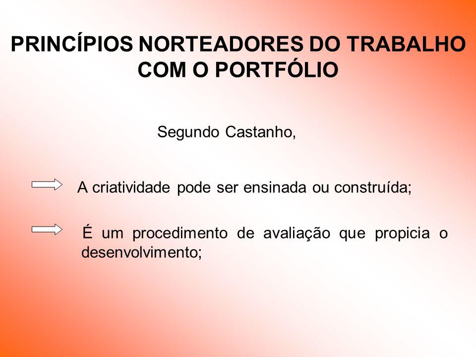 Segundo Castanho, A criatividade pode ser ensinada ou construída; É um procedimento de avaliação que propicia o desenvolvimento; PRINCÍPIOS NORTEADORE