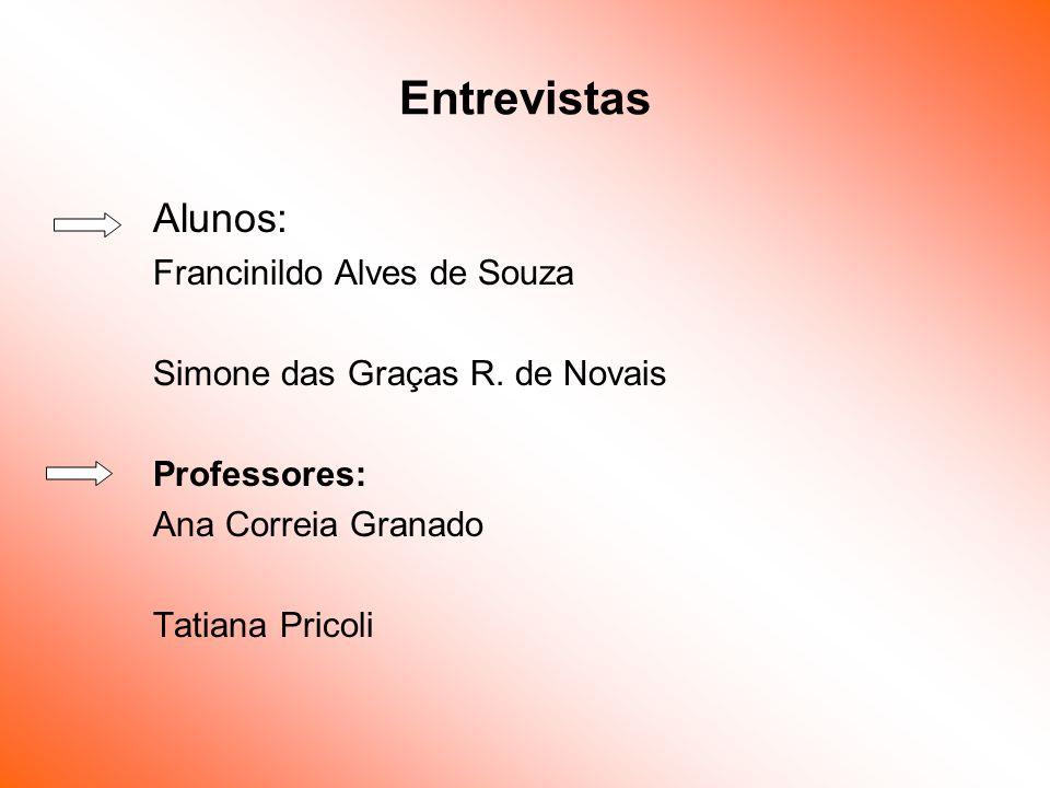 Entrevistas Alunos: Francinildo Alves de Souza Simone das Graças R. de Novais Professores: Ana Correia Granado Tatiana Pricoli