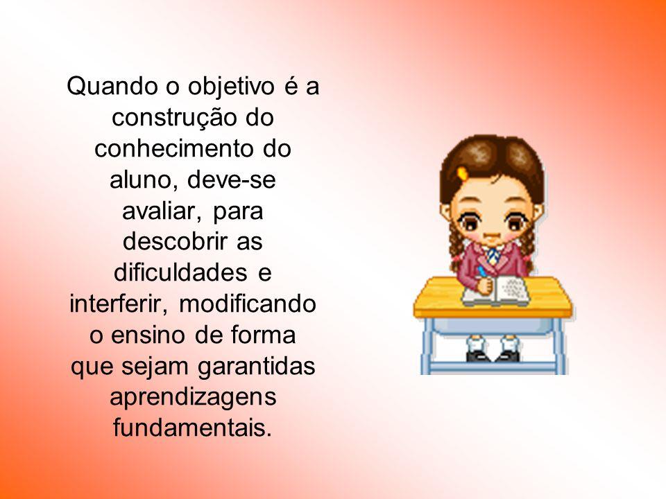 Quando o objetivo é a construção do conhecimento do aluno, deve-se avaliar, para descobrir as dificuldades e interferir, modificando o ensino de forma