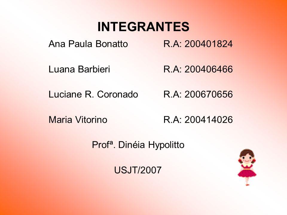 INTEGRANTES Ana Paula BonattoR.A: 200401824 Luana BarbieriR.A: 200406466 Luciane R. CoronadoR.A: 200670656 Maria VitorinoR.A: 200414026 Profª. Dinéia