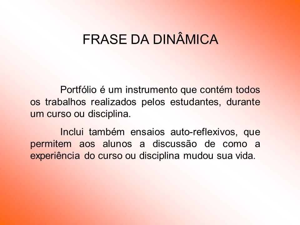 FRASE DA DINÂMICA Portfólio é um instrumento que contém todos os trabalhos realizados pelos estudantes, durante um curso ou disciplina. Inclui também