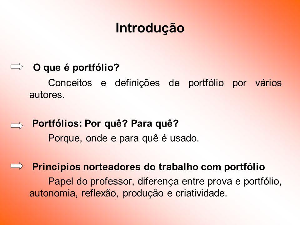 Introdução O que é portfólio? Conceitos e definições de portfólio por vários autores. Portfólios: Por quê? Para quê? Porque, onde e para quê é usado.