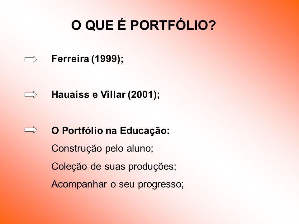 Ferreira (1999); Hauaiss e Villar (2001); O Portfólio na Educação: Construção pelo aluno; Coleção de suas produções; Acompanhar o seu progresso; O QUE