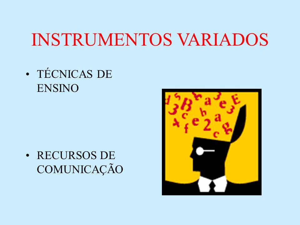 INSTRUMENTOS VARIADOS TÉCNICAS DE ENSINO RECURSOS DE COMUNICAÇÃO