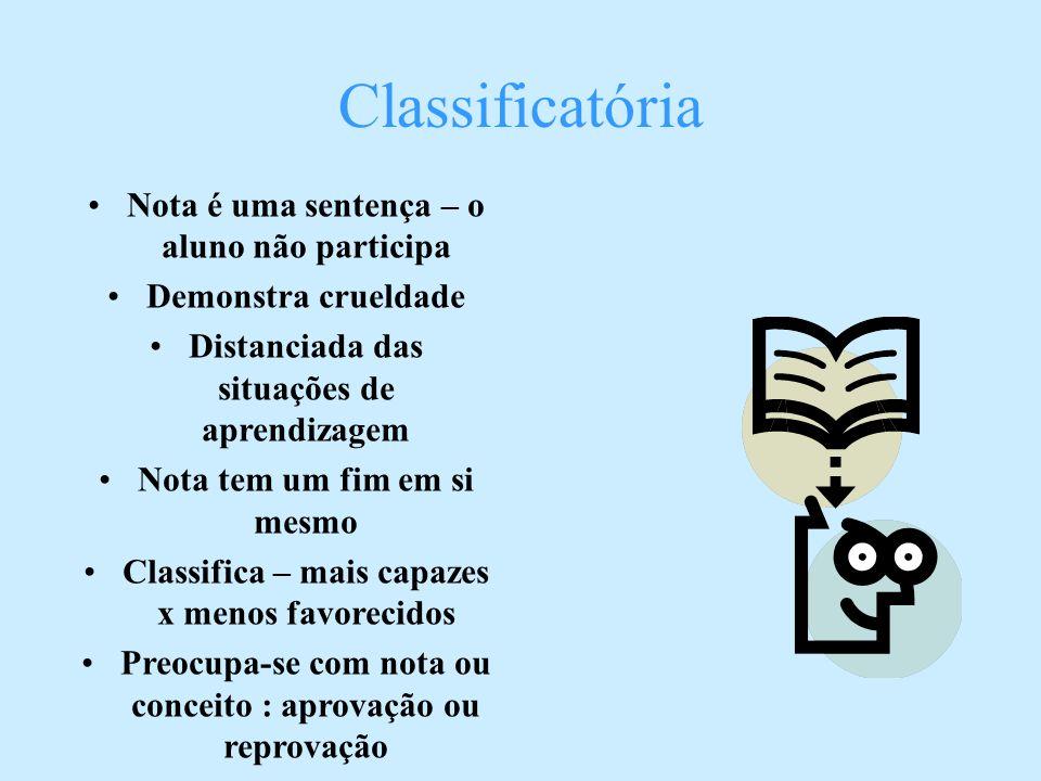Classificatória Nota é uma sentença – o aluno não participa Demonstra crueldade Distanciada das situações de aprendizagem Nota tem um fim em si mesmo