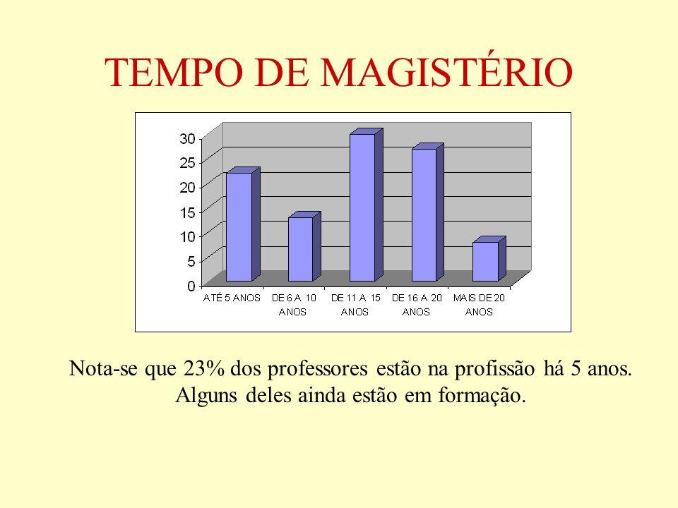 TEMPO DE MAGISTÉRIO Nota-se que 23% dos professores estão na profissão há 5 anos. Alguns deles ainda estão em formação.