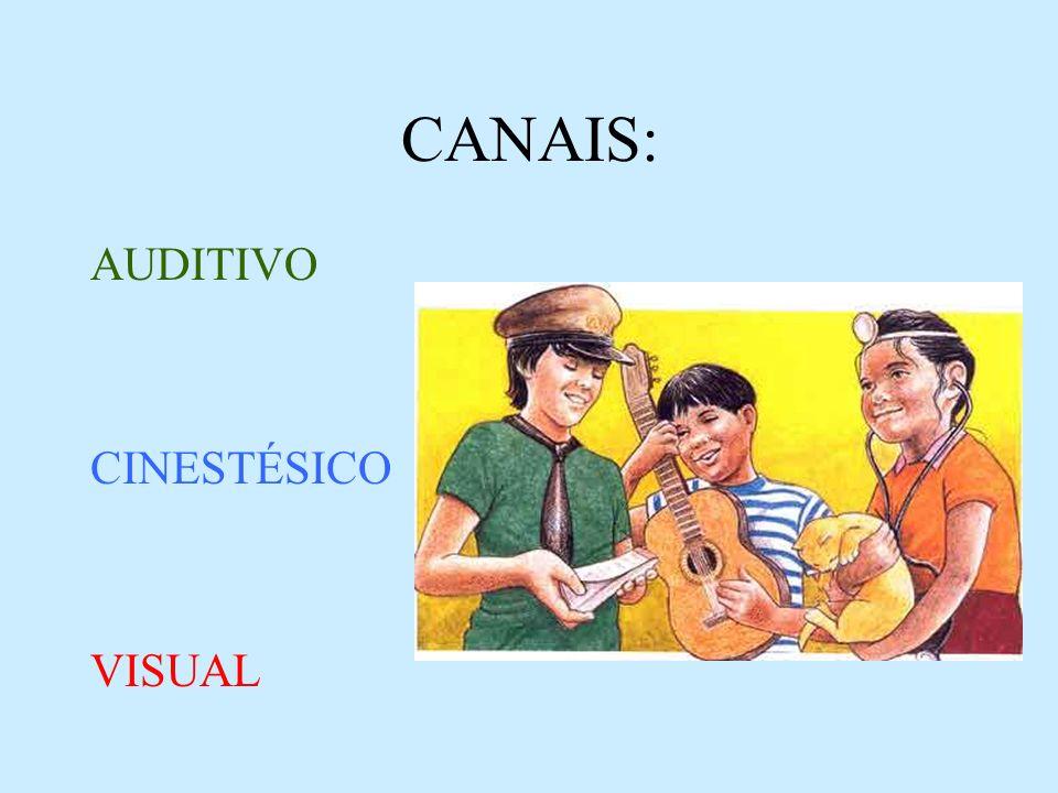 CANAIS: AUDITIVO CINESTÉSICO VISUAL