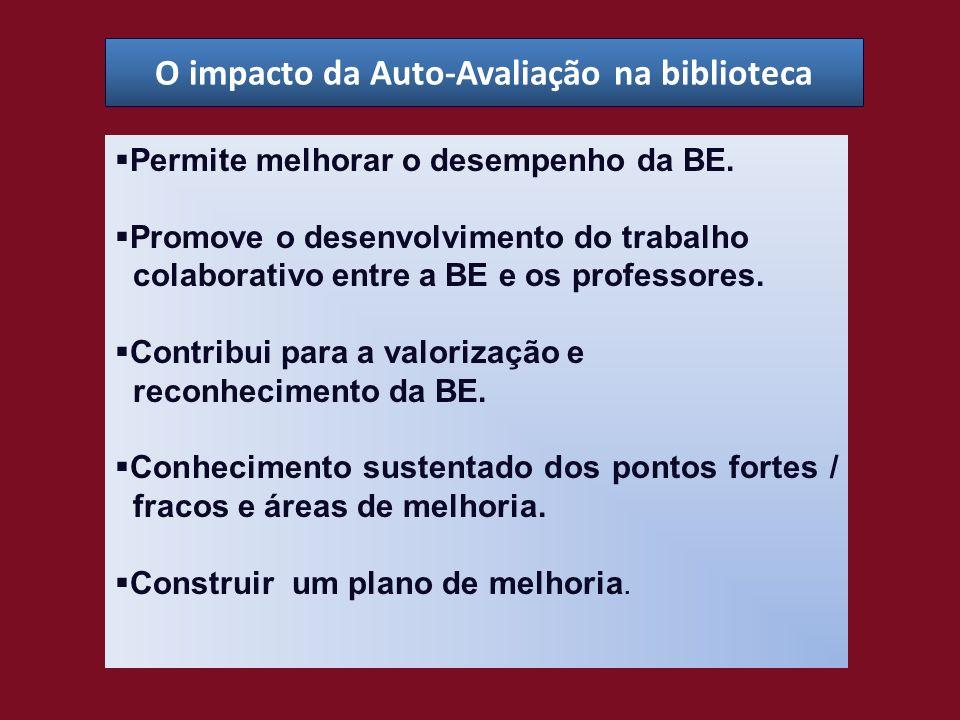 O impacto da Auto-Avaliação na biblioteca Permite melhorar o desempenho da BE. Promove o desenvolvimento do trabalho colaborativo entre a BE e os prof