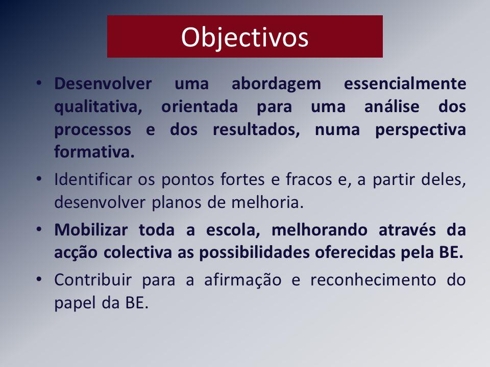 Objectivos Desenvolver uma abordagem essencialmente qualitativa, orientada para uma análise dos processos e dos resultados, numa perspectiva formativa