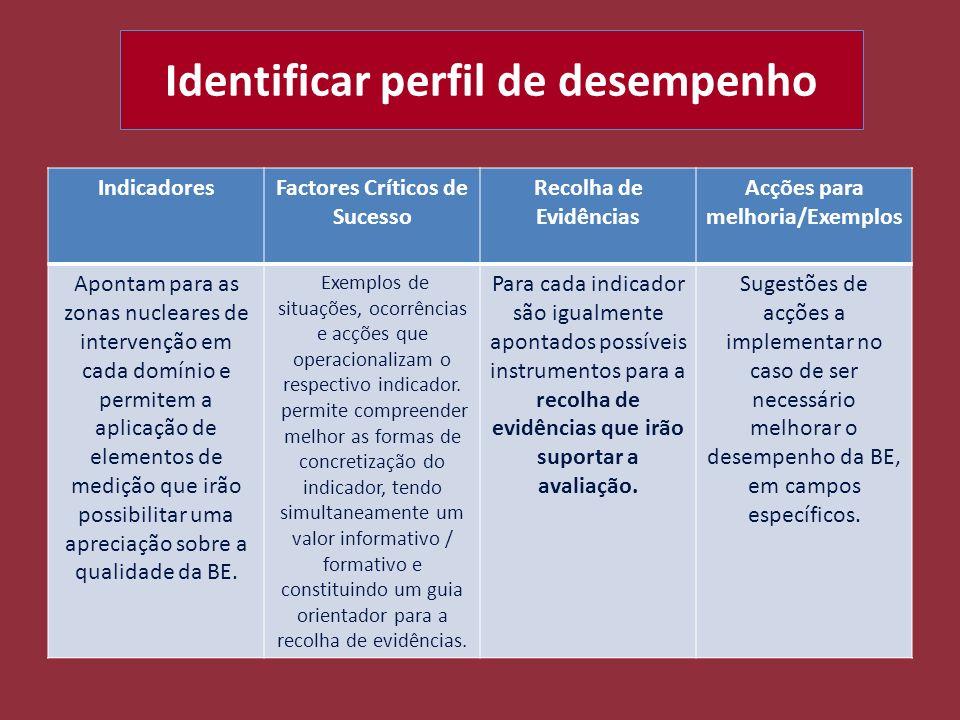 Identificar perfil de desempenho IndicadoresFactores Críticos de Sucesso Recolha de Evidências Acções para melhoria/Exemplos Apontam para as zonas nuc