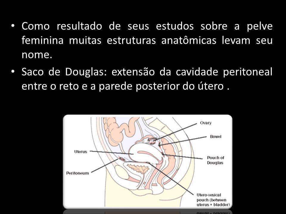 Como resultado de seus estudos sobre a pelve feminina muitas estruturas anatômicas levam seu nome. Saco de Douglas: extensão da cavidade peritoneal en