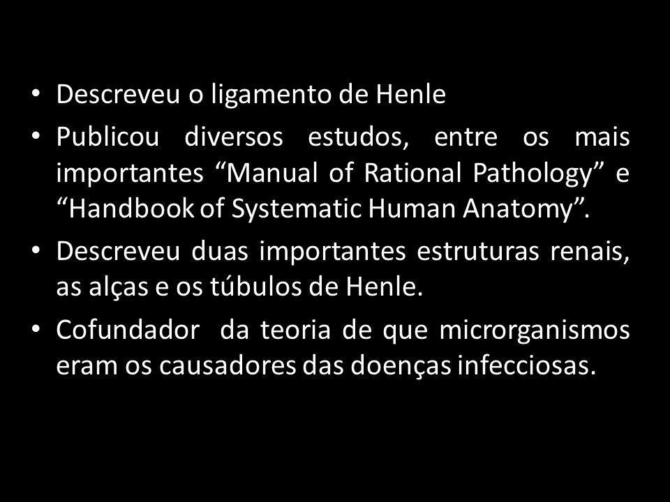 Descreveu o ligamento de Henle Publicou diversos estudos, entre os mais importantes Manual of Rational Pathology e Handbook of Systematic Human Anatom