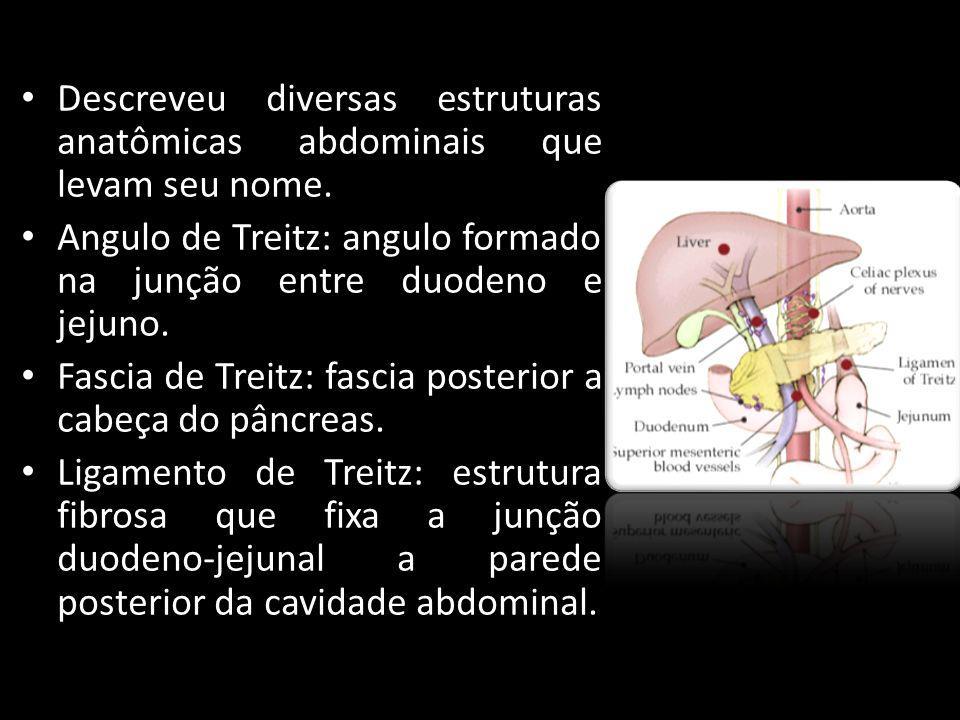 Descreveu diversas estruturas anatômicas abdominais que levam seu nome. Angulo de Treitz: angulo formado na junção entre duodeno e jejuno. Fascia de T