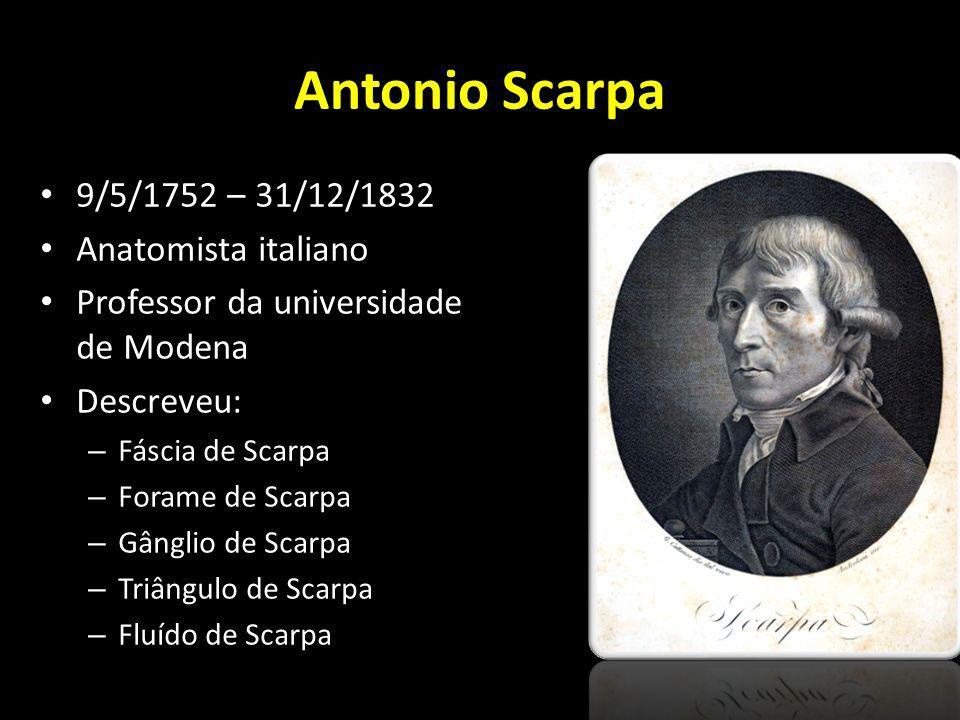 Antonio Scarpa 9/5/1752 – 31/12/1832 Anatomista italiano Professor da universidade de Modena Descreveu: – Fáscia de Scarpa – Forame de Scarpa – Gângli