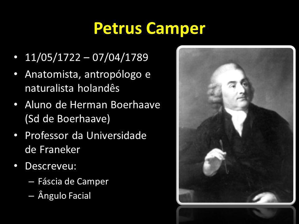 Petrus Camper 11/05/1722 – 07/04/1789 Anatomista, antropólogo e naturalista holandês Aluno de Herman Boerhaave (Sd de Boerhaave) Professor da Universi