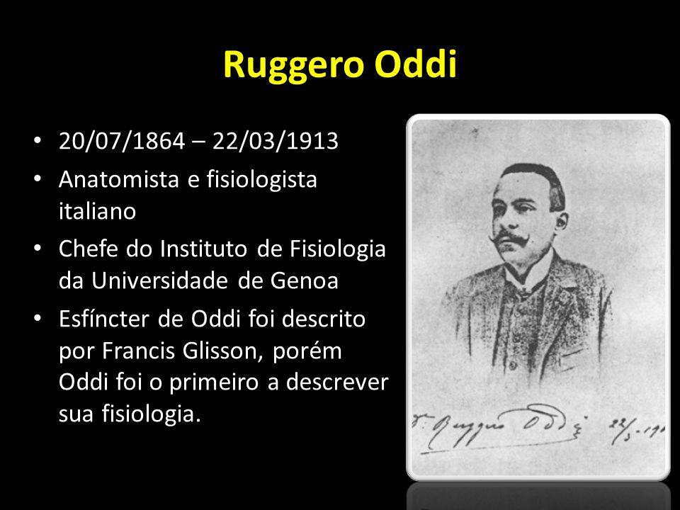 Ruggero Oddi 20/07/1864 – 22/03/1913 Anatomista e fisiologista italiano Chefe do Instituto de Fisiologia da Universidade de Genoa Esfíncter de Oddi fo