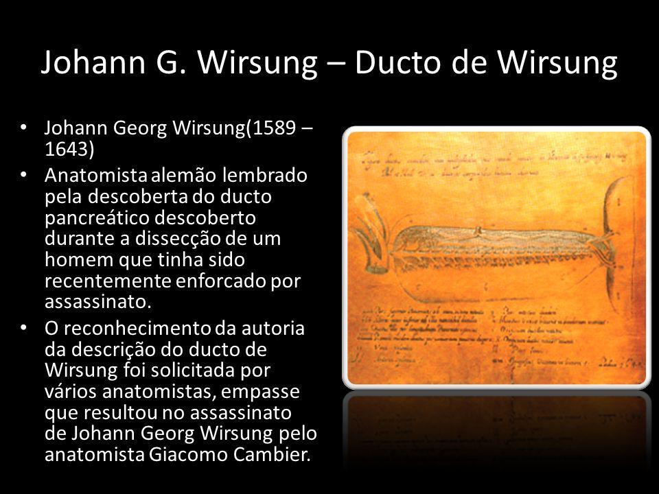Johann G. Wirsung – Ducto de Wirsung Johann Georg Wirsung(1589 – 1643) Anatomista alemão lembrado pela descoberta do ducto pancreático descoberto dura