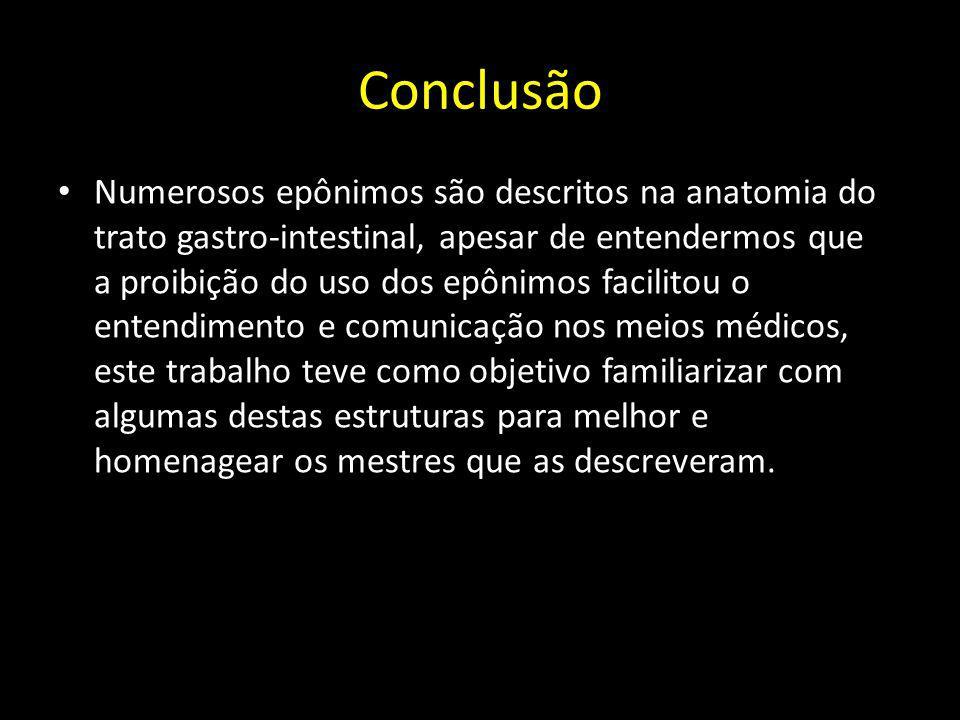 Conclusão Numerosos epônimos são descritos na anatomia do trato gastro-intestinal, apesar de entendermos que a proibição do uso dos epônimos facilitou