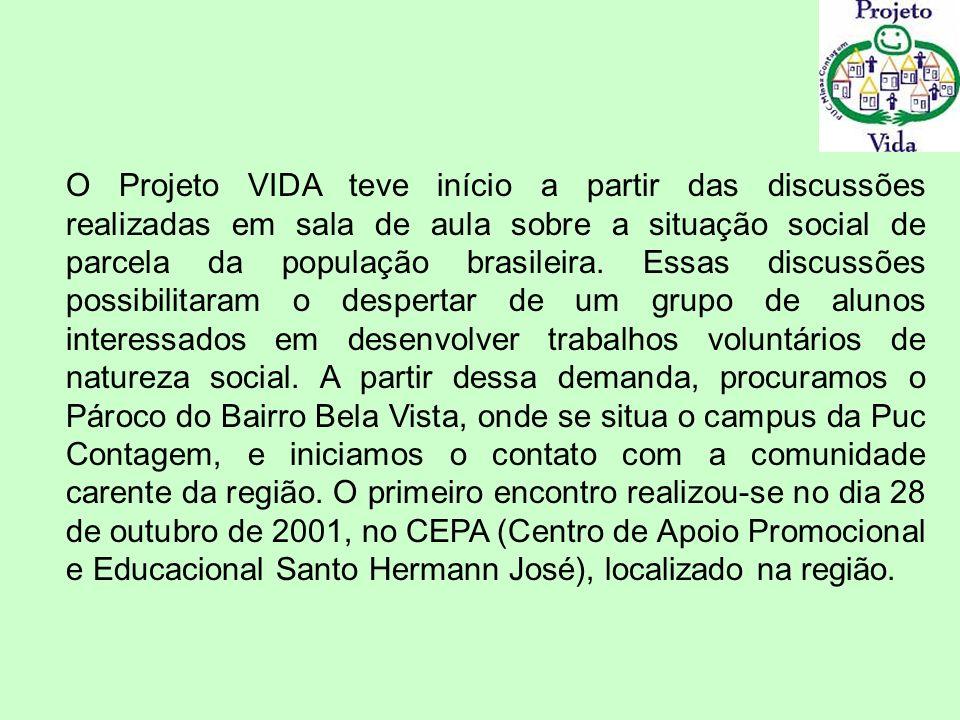 O Projeto VIDA teve início a partir das discussões realizadas em sala de aula sobre a situação social de parcela da população brasileira. Essas discus
