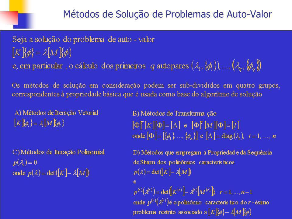 Métodos de Solução de Problemas de Auto-Valor Todos os métodos de solução têm que ser iterativos por natureza porque, basicamente, a solução do problema de auto-valor [K]{ } = [M]{ } é equivalente a calcular as raízes do polinômio p( ), cuja ordem é igual à ordem das matrizes [K] e [M].
