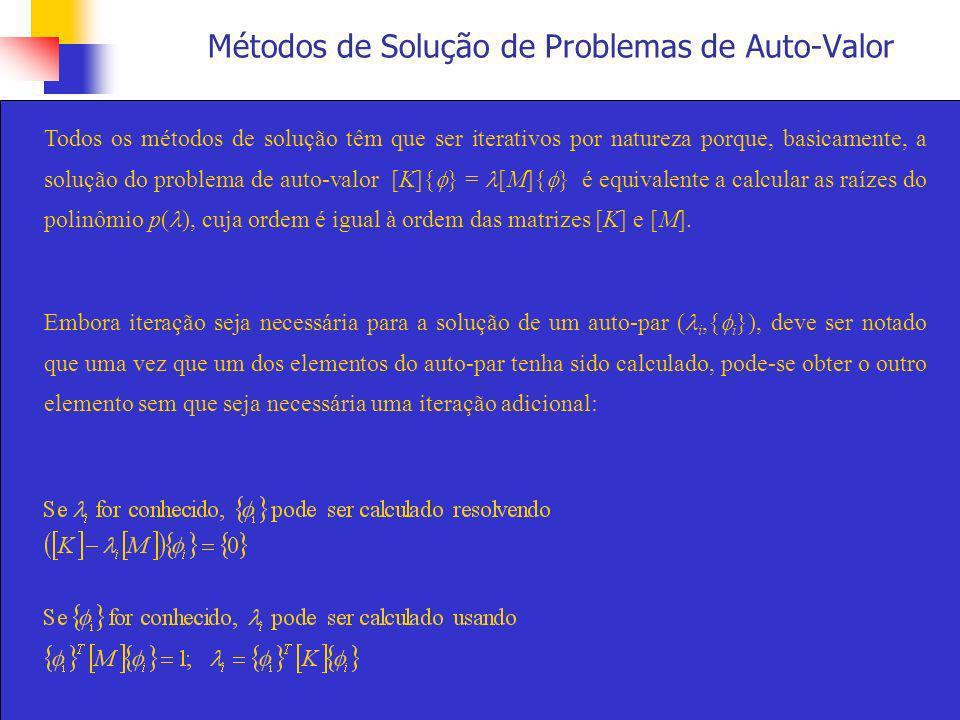 Métodos de Solução de Problemas de Auto-Valor Todos os métodos de solução têm que ser iterativos por natureza porque, basicamente, a solução do proble