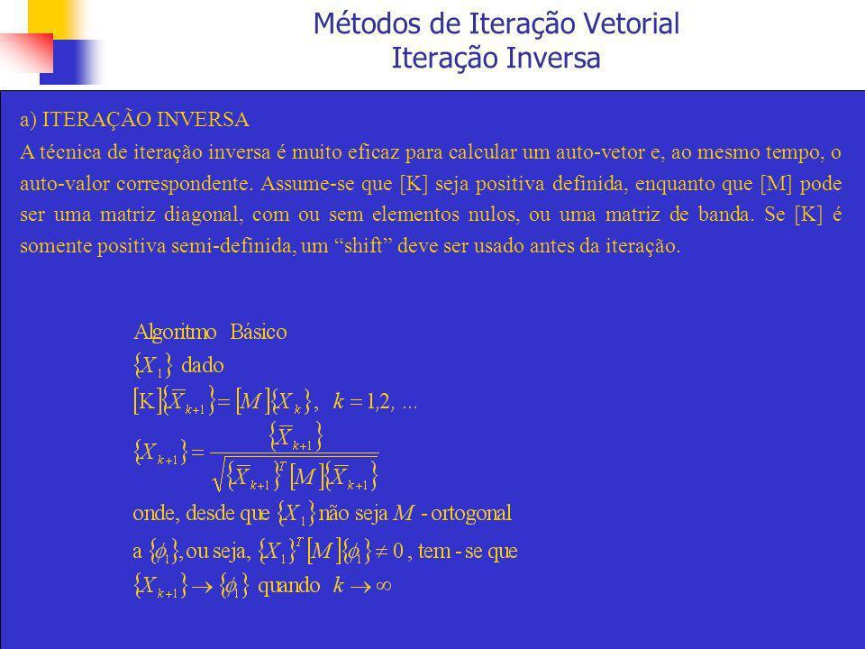 Métodos de Iteração Vetorial Iteração Inversa a) ITERAÇÃO INVERSA A técnica de iteração inversa é muito eficaz para calcular um auto-vetor e, ao mesmo